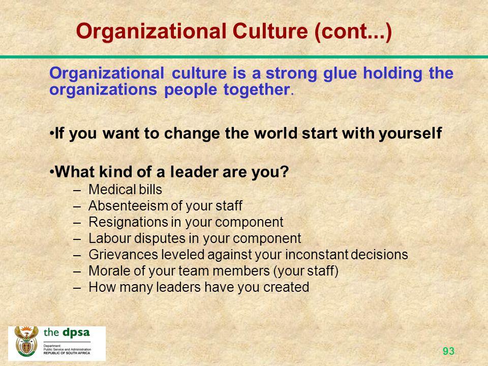 Organizational Culture (cont...)