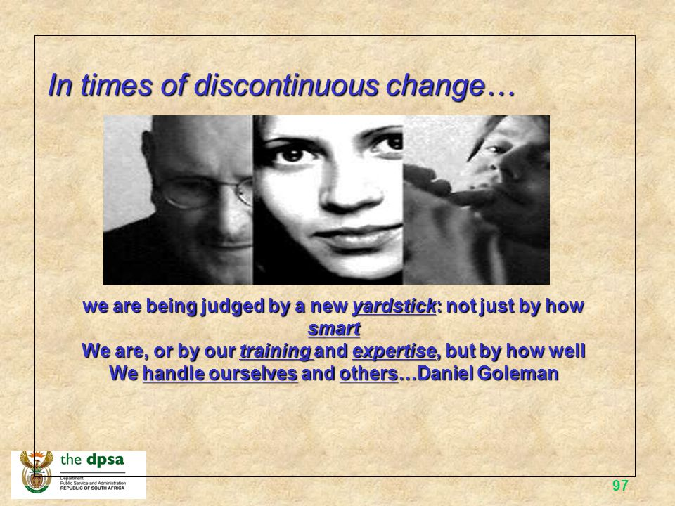 In times of discontinuous change…