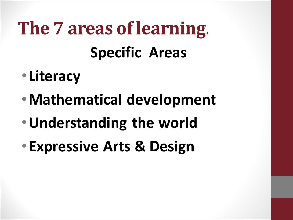 The 7 areas of learning. Specific Areas Literacy