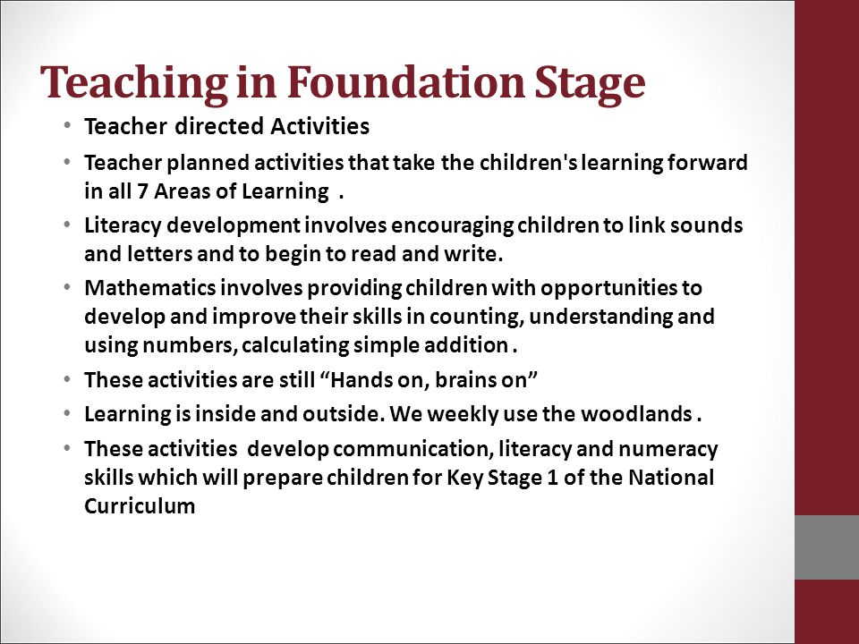 Teaching in Foundation Stage