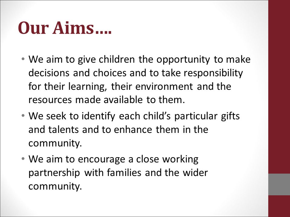 Our Aims….