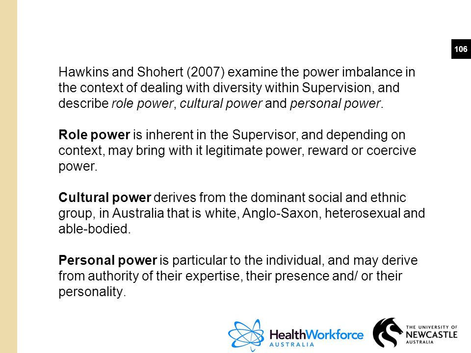 Hawkins and Shohert (2007) examine the power imbalance in the context of dealing with diversity within Supervision, and describe role power, cultural power and personal power.