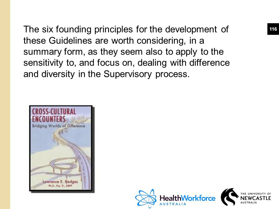 The six founding principles for the development of these Guidelines are worth considering, in a summary form, as they seem also to apply to the sensitivity to, and focus on, dealing with difference and diversity in the Supervisory process.