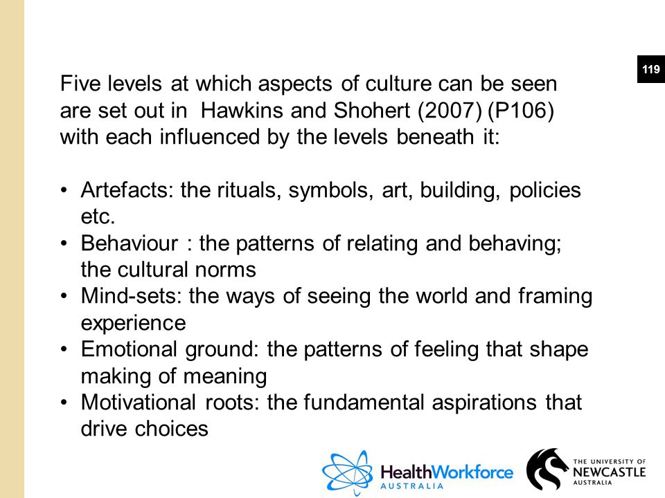 Five levels at which aspects of culture can be seen are set out in Hawkins and Shohert (2007) (P106) with each influenced by the levels beneath it: