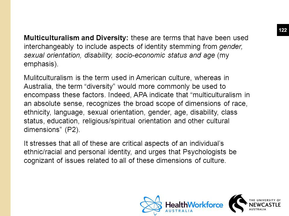 Multiculturalism and Diversity: these are terms that have been used interchangeably to include aspects of identity stemming from gender, sexual orientation, disability, socio-economic status and age (my emphasis).