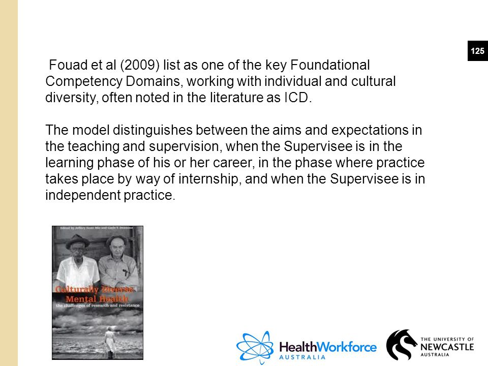 Fouad et al (2009) list as one of the key Foundational Competency Domains, working with individual and cultural diversity, often noted in the literature as ICD.