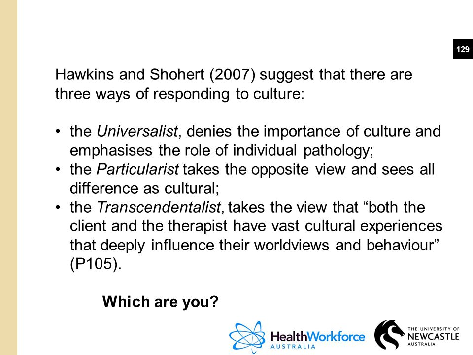 Hawkins and Shohert (2007) suggest that there are three ways of responding to culture: