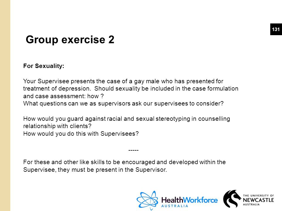 Group exercise 2 For Sexuality: