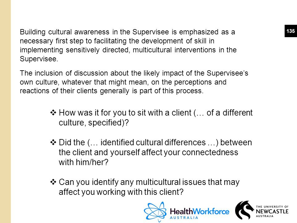 Building cultural awareness in the Supervisee is emphasized as a necessary first step to facilitating the development of skill in implementing sensitively directed, multicultural interventions in the Supervisee.
