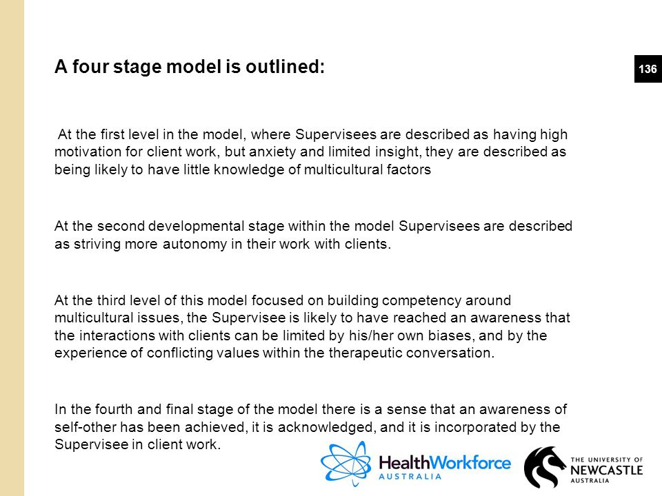 A four stage model is outlined: