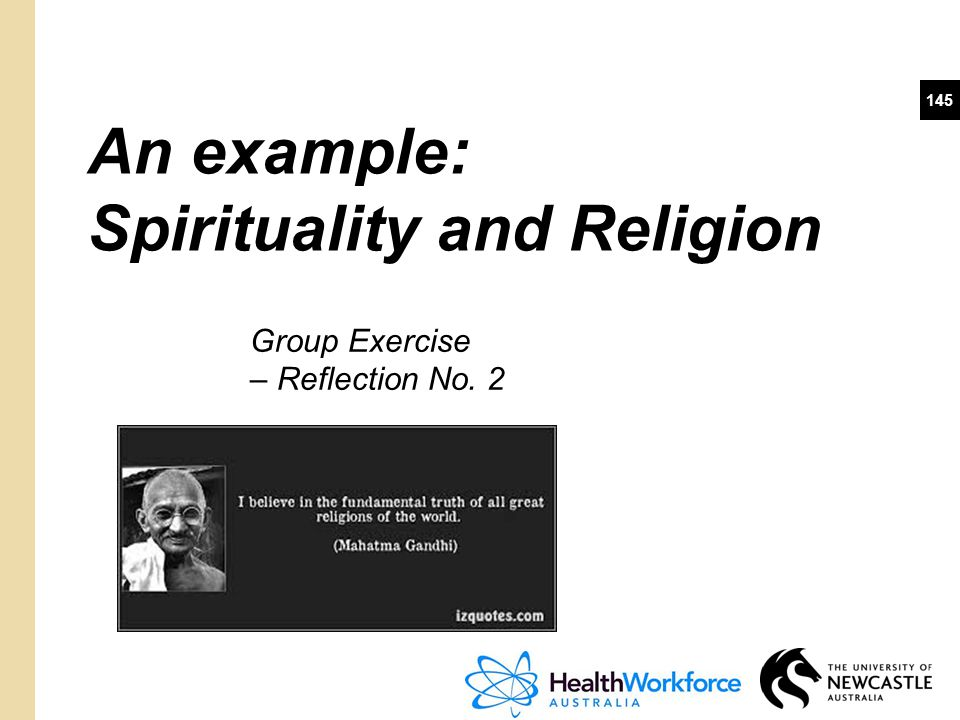 An example: Spirituality and Religion