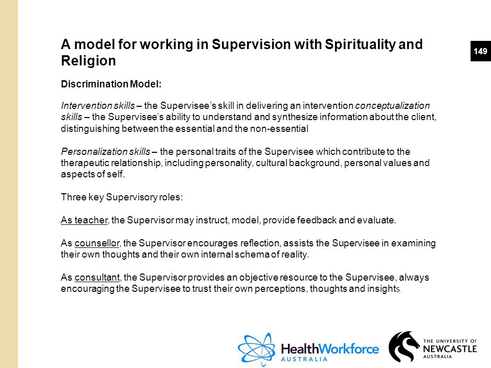 A model for working in Supervision with Spirituality and Religion