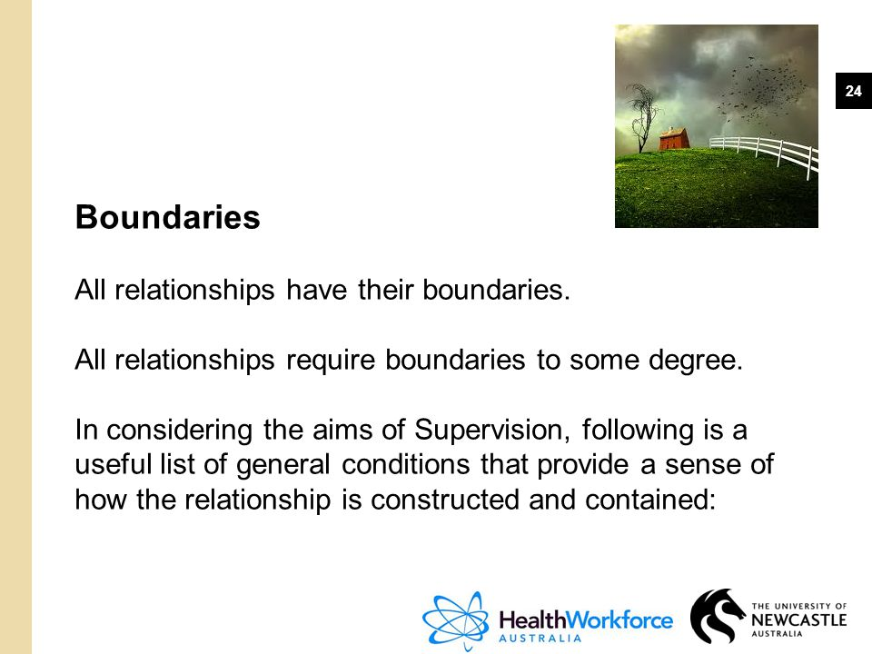 Boundaries All relationships have their boundaries.