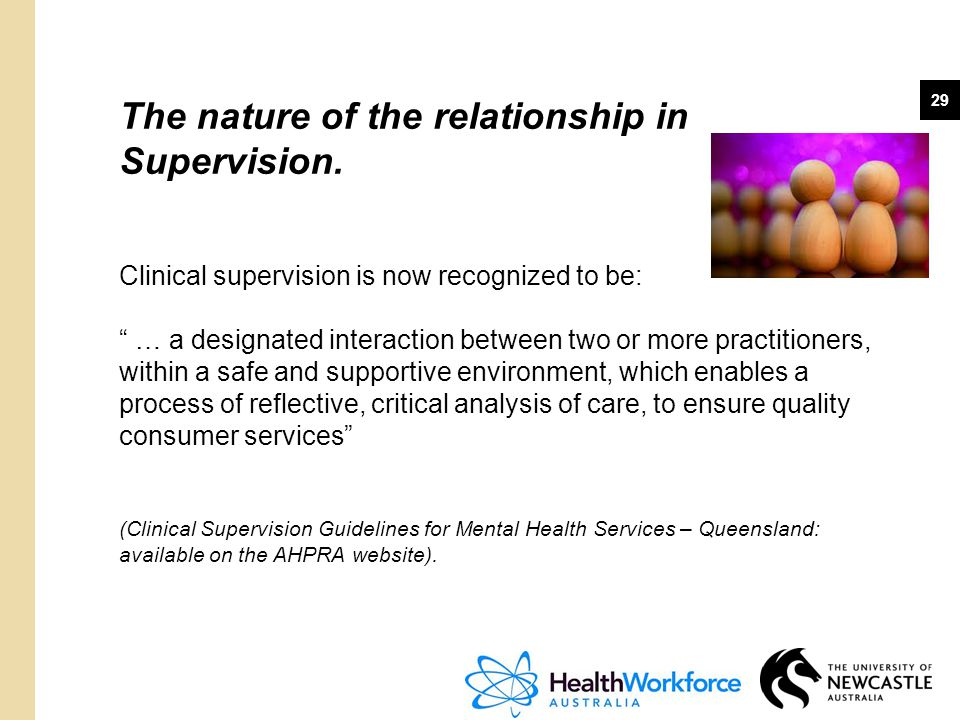 The nature of the relationship in Supervision.