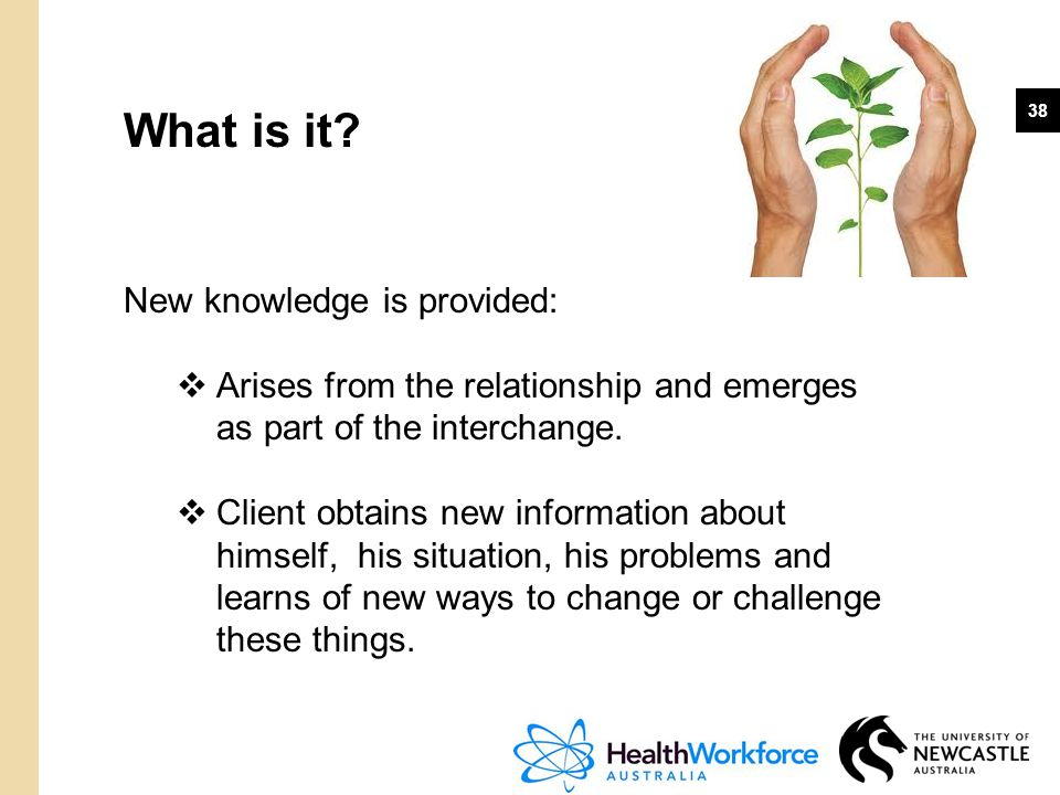 What is it New knowledge is provided: