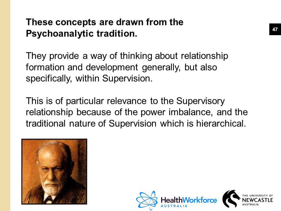 These concepts are drawn from the Psychoanalytic tradition.