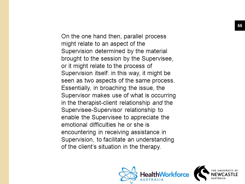 On the one hand then, parallel process might relate to an aspect of the Supervision determined by the material brought to the session by the Supervisee, or it might relate to the process of Supervision itself: in this way, it might be seen as two aspects of the same process.