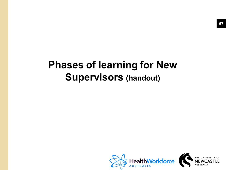 Phases of learning for New Supervisors (handout)