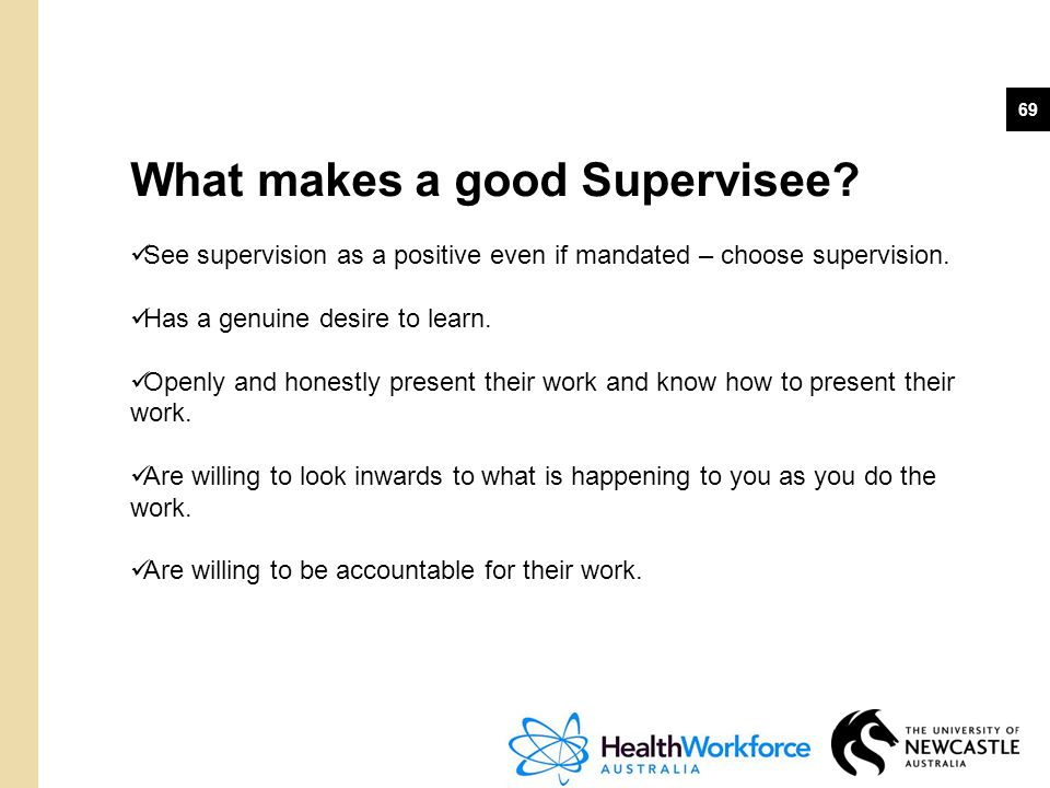 What makes a good Supervisee