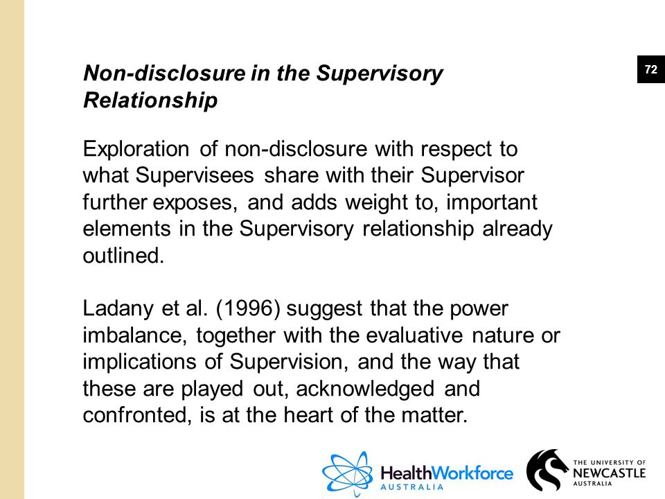 Non-disclosure in the Supervisory Relationship