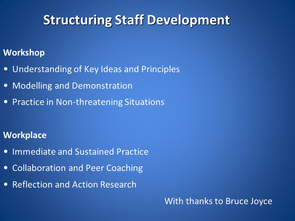 Structuring Staff Development