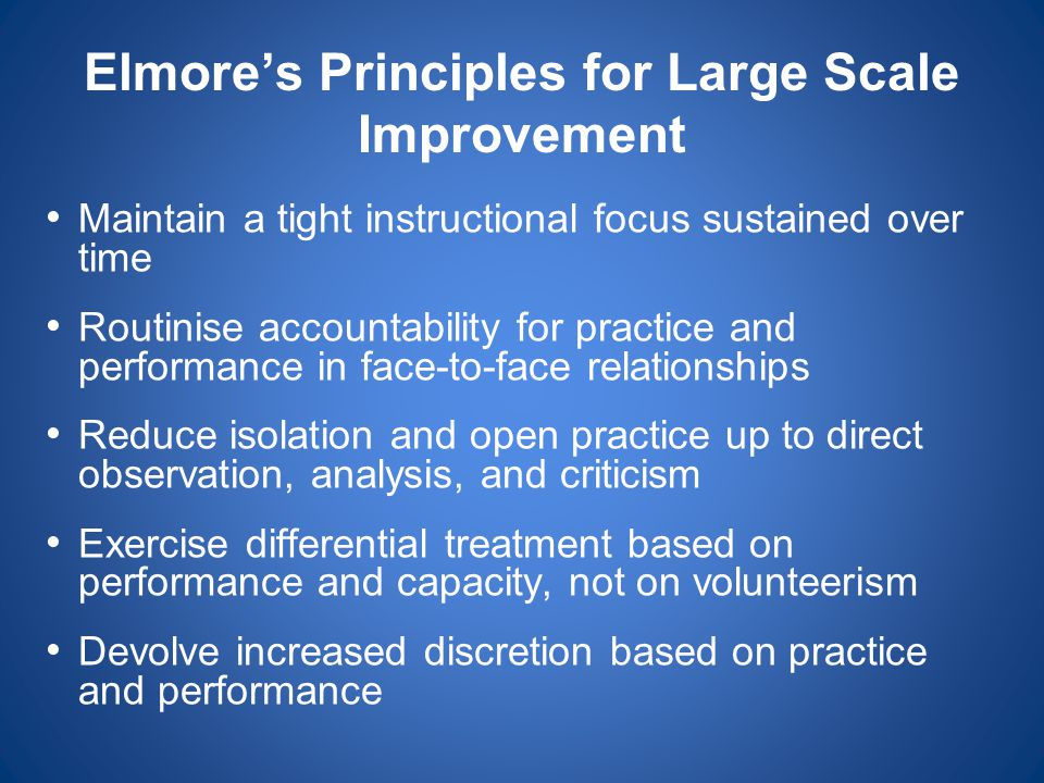 Elmore's Principles for Large Scale Improvement