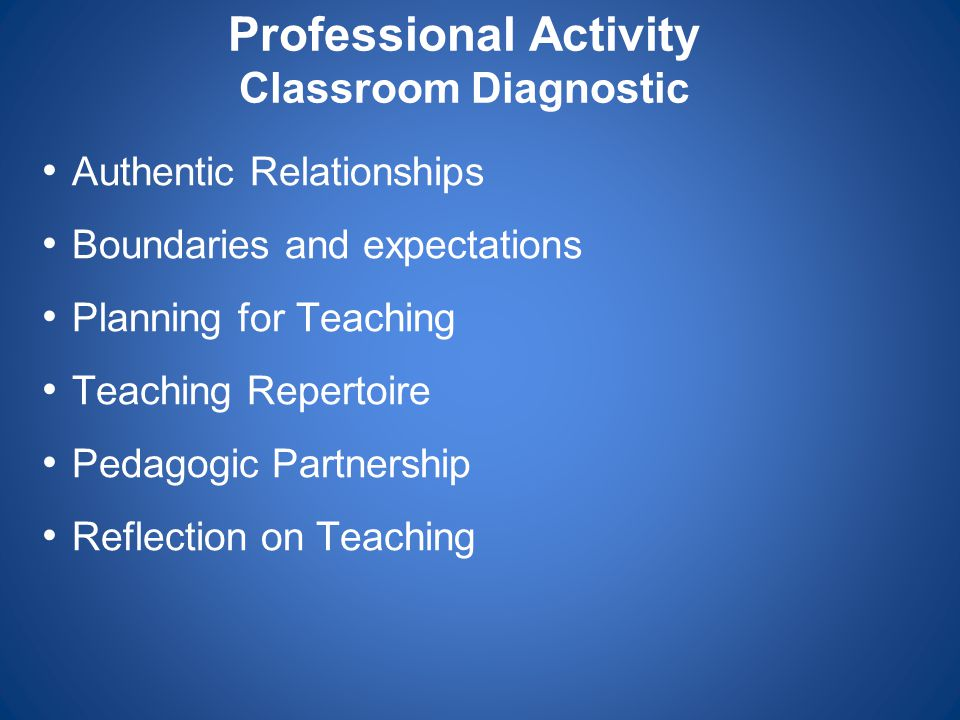 Professional Activity Classroom Diagnostic