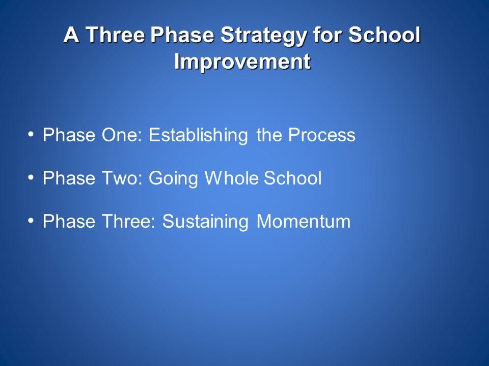 A Three Phase Strategy for School Improvement