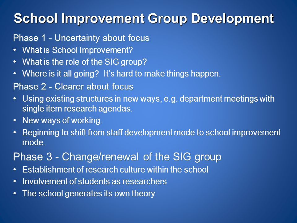 School Improvement Group Development