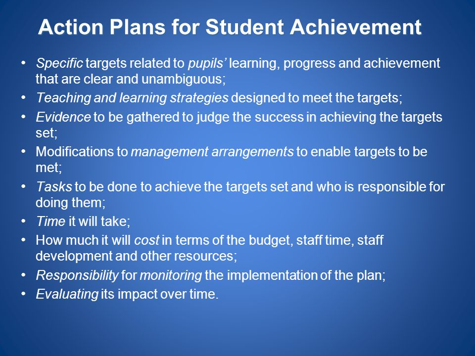 Action Plans for Student Achievement