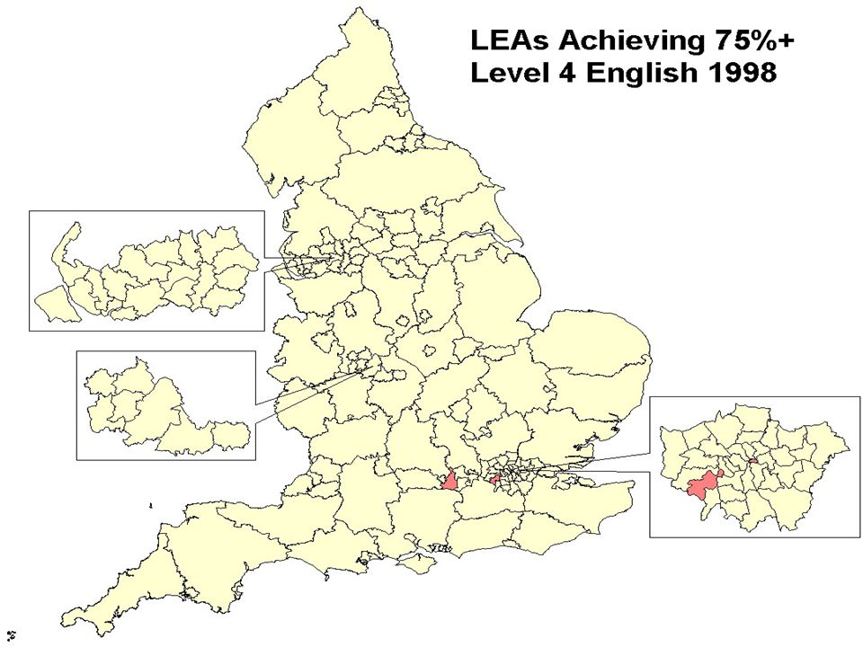 This map shows in red those LEAs where three quarters of their children were achieving the expected level in English in 1998. This provided the clearest possible justification for the introduction of the National Literacy Strategy, and the position in numeracy was very similar.