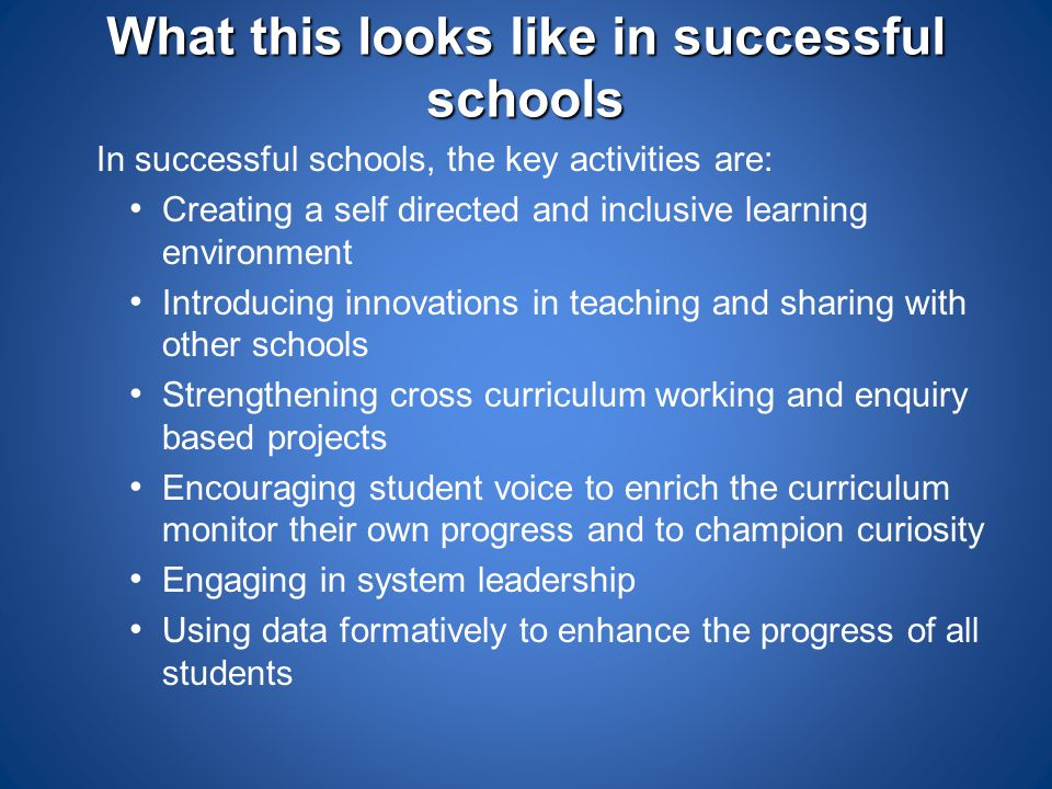 What this looks like in successful schools