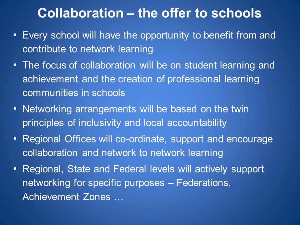 Collaboration – the offer to schools