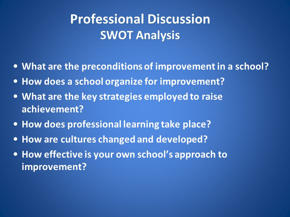 Professional Discussion SWOT Analysis