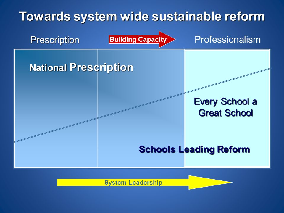 Towards system wide sustainable reform