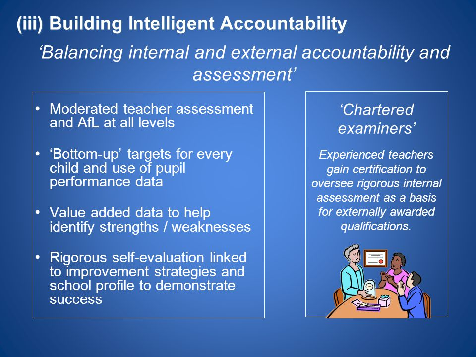 'Balancing internal and external accountability and assessment'