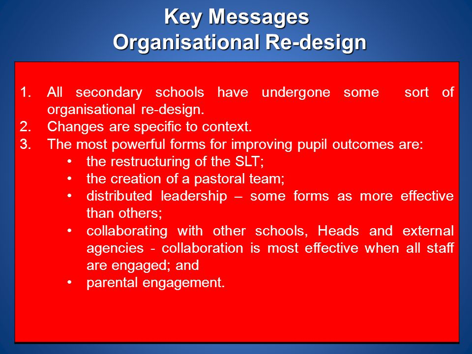 Key Messages Organisational Re-design