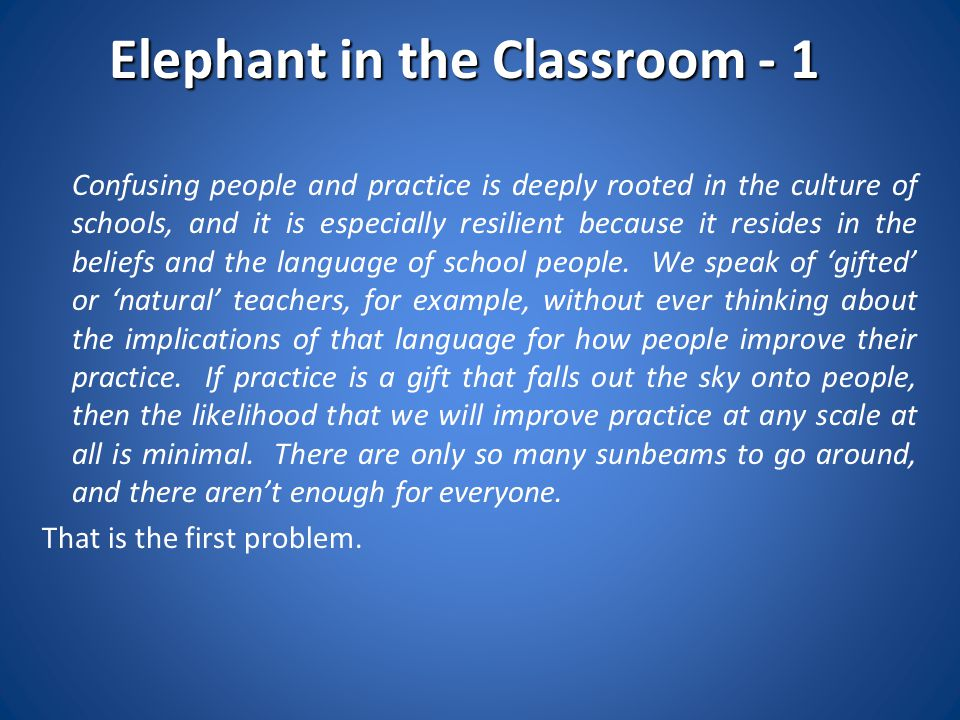 Elephant in the Classroom - 1
