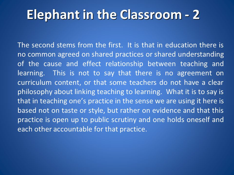 Elephant in the Classroom - 2