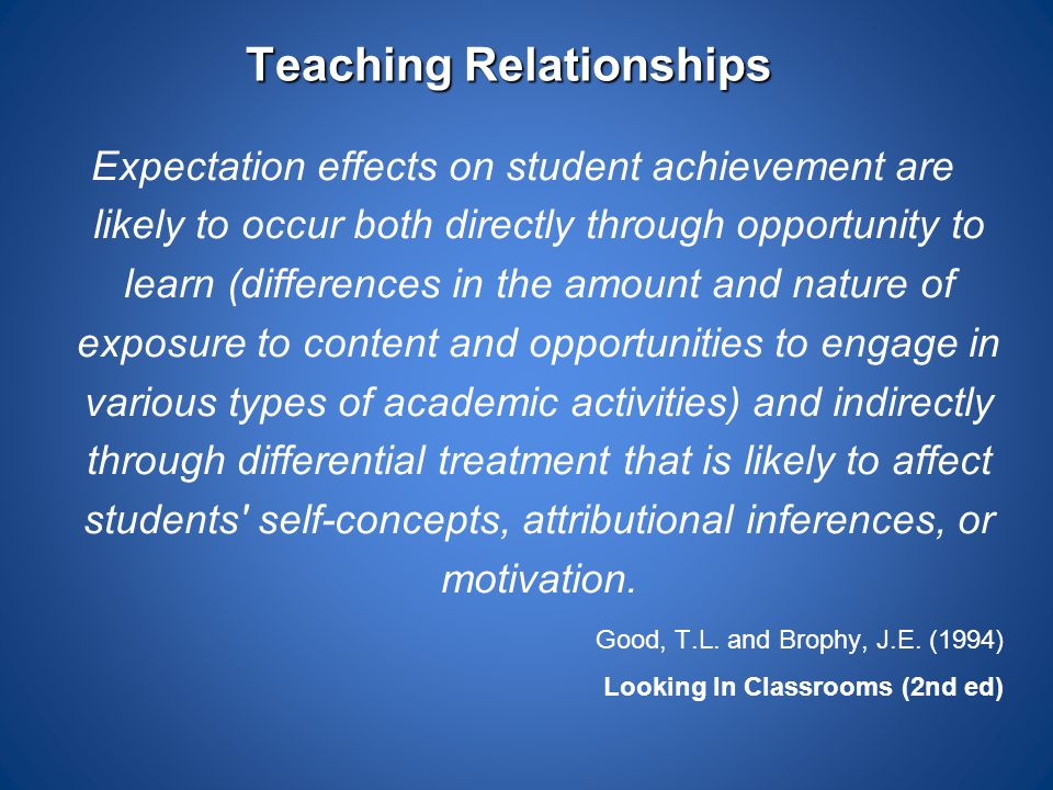 Teaching Relationships