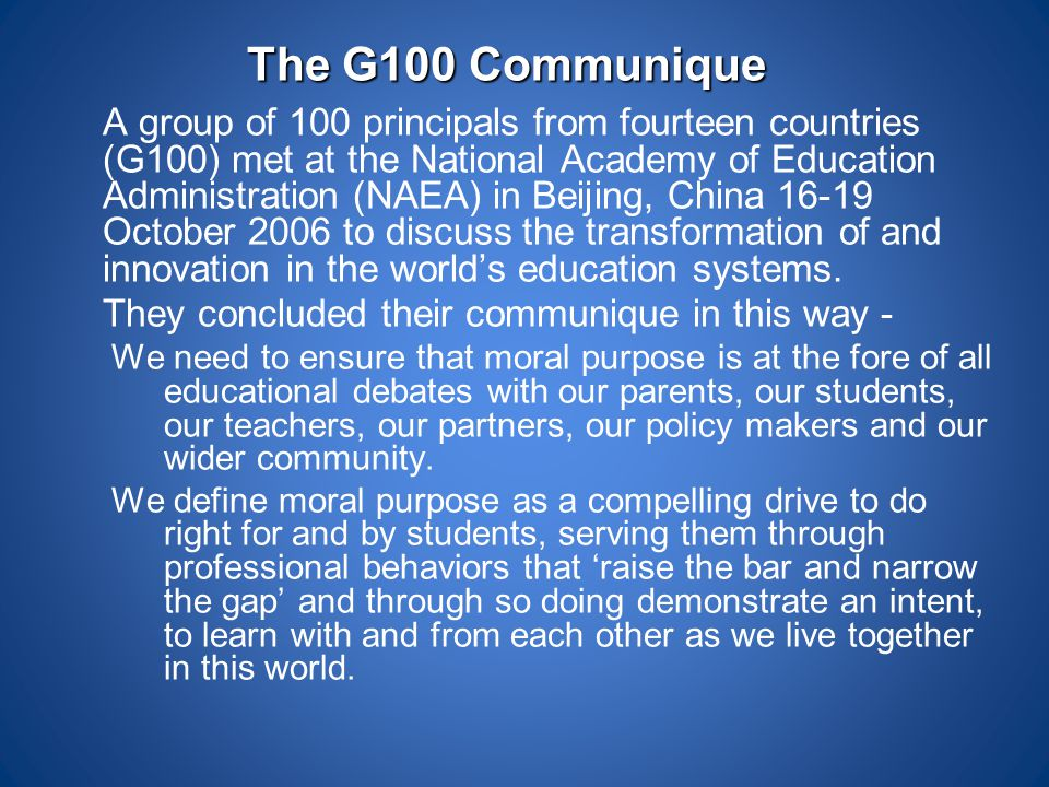 The G100 Communique They concluded their communique in this way -