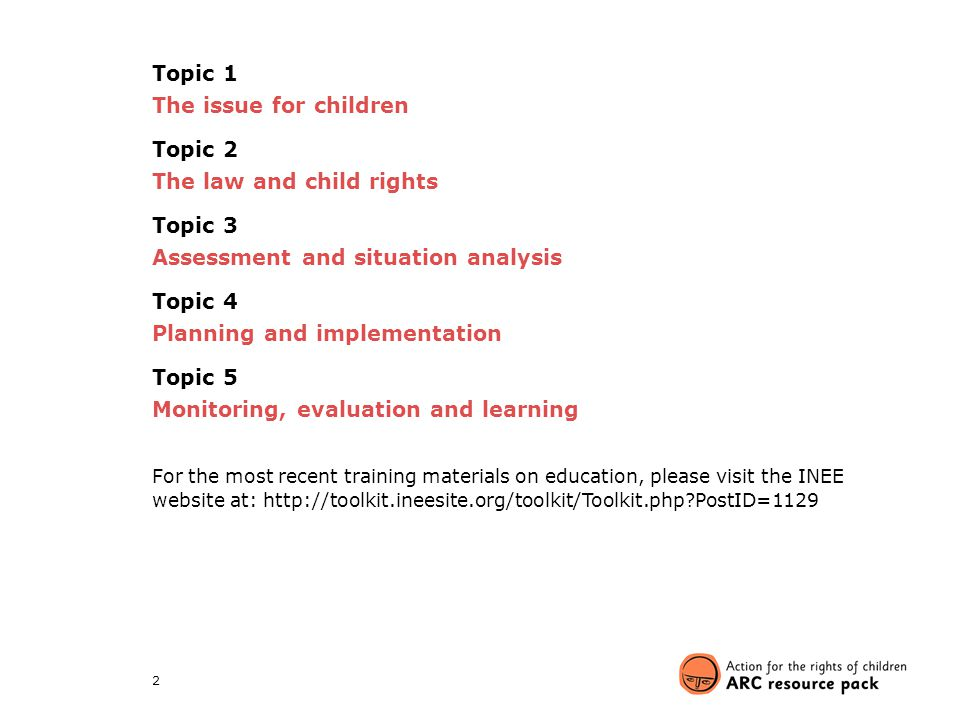 The law and child rights Topic 3 Assessment and situation analysis