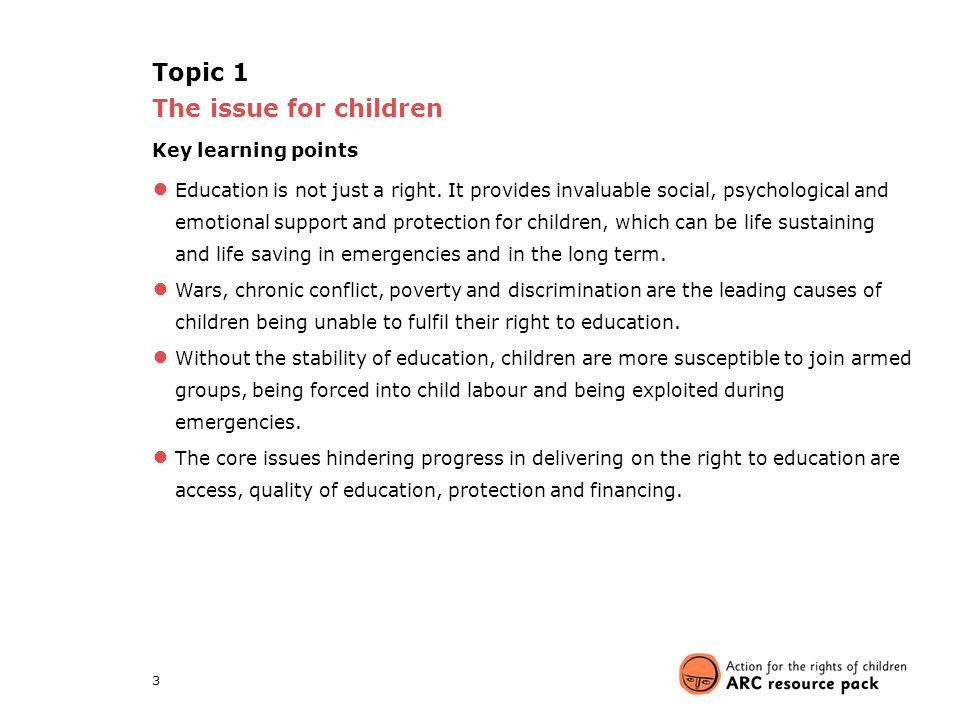 Topic 1 The issue for children Key learning points