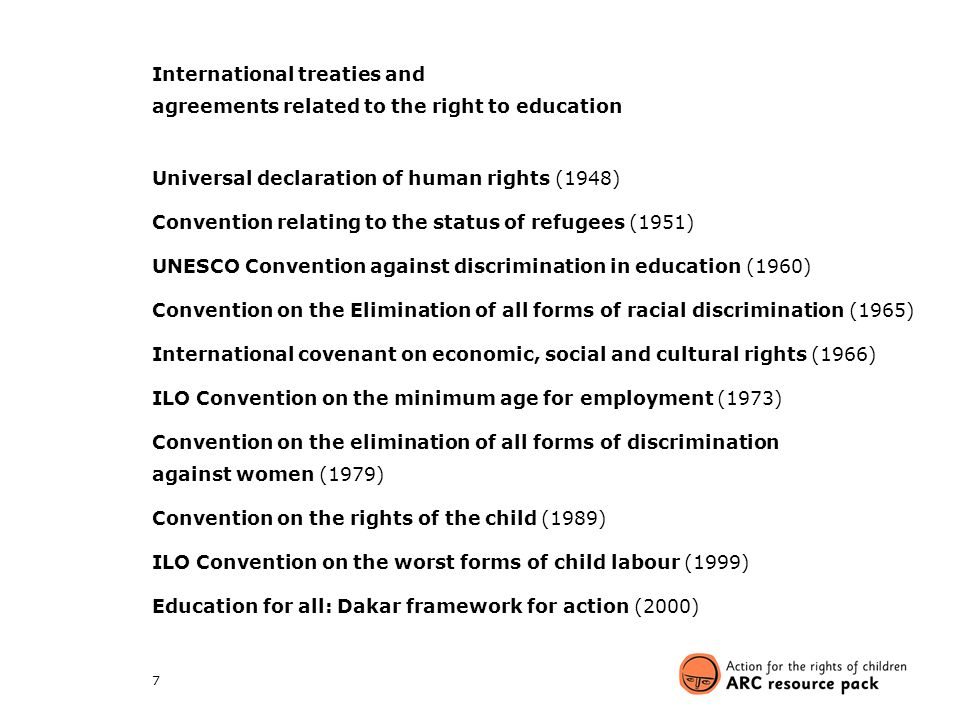 International treaties and agreements related to the right to education