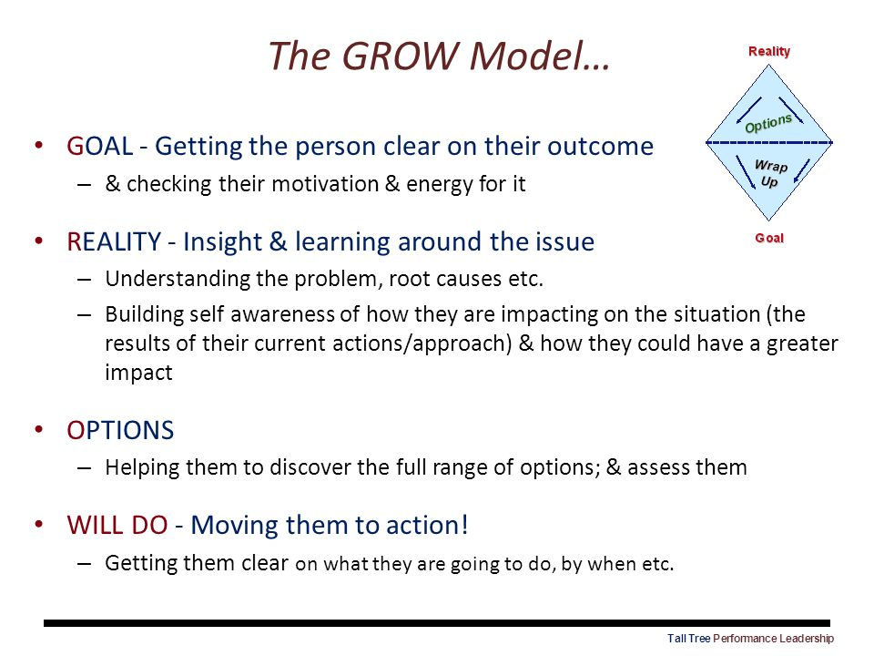 The GROW Model… GOAL - Getting the person clear on their outcome