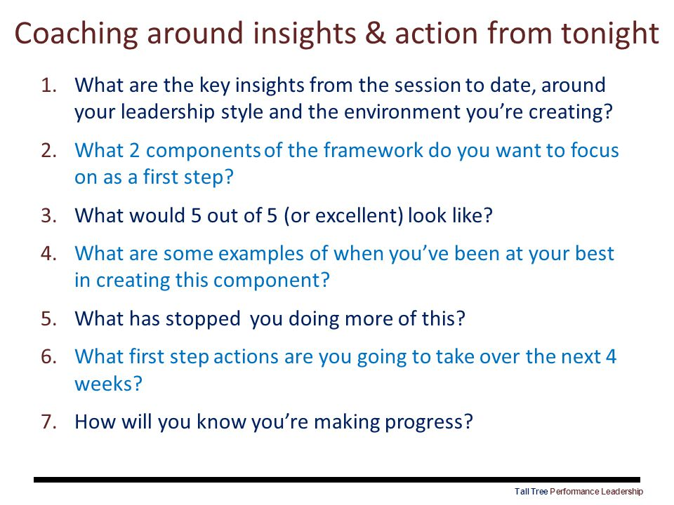Coaching around insights & action from tonight