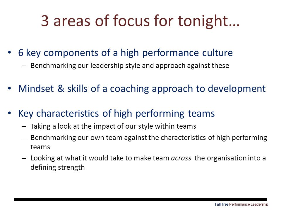 3 areas of focus for tonight…