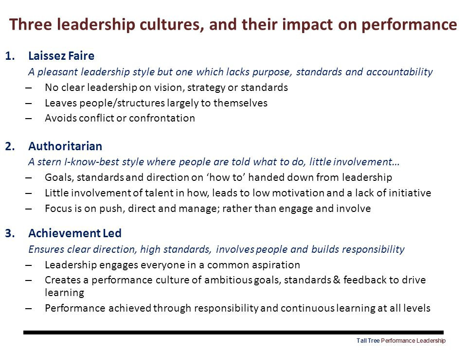 Three leadership cultures, and their impact on performance