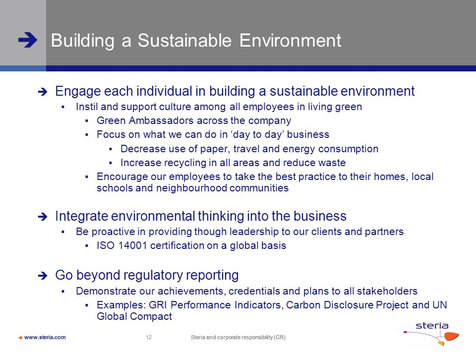 Building a Sustainable Environment