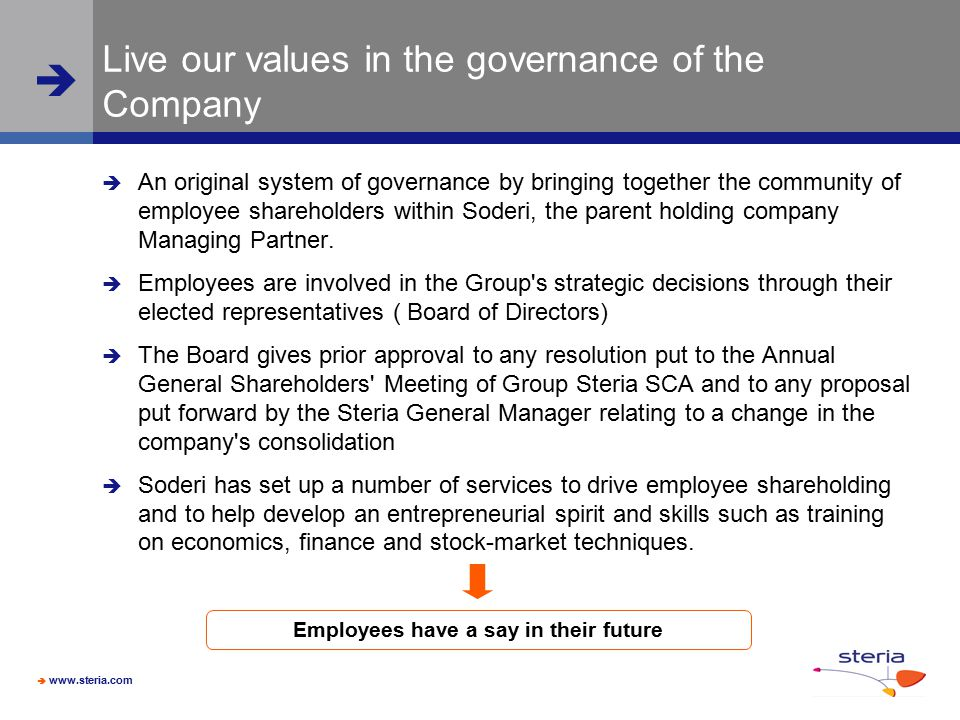 Live our values in the governance of the Company